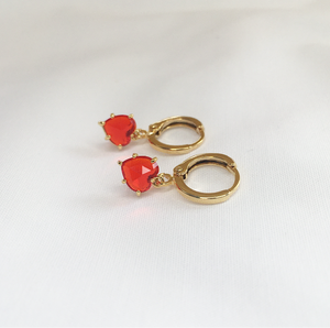 Red Love Heart Gem Earrings