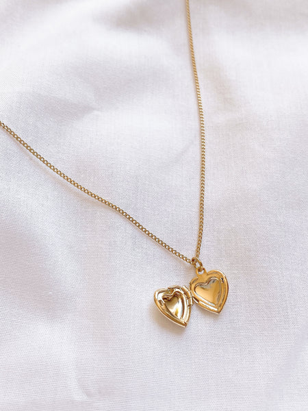 Gold Love Heart Locket Necklace