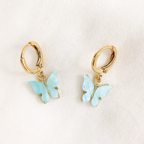 Baby Blue Butterfly Huggie Earrings