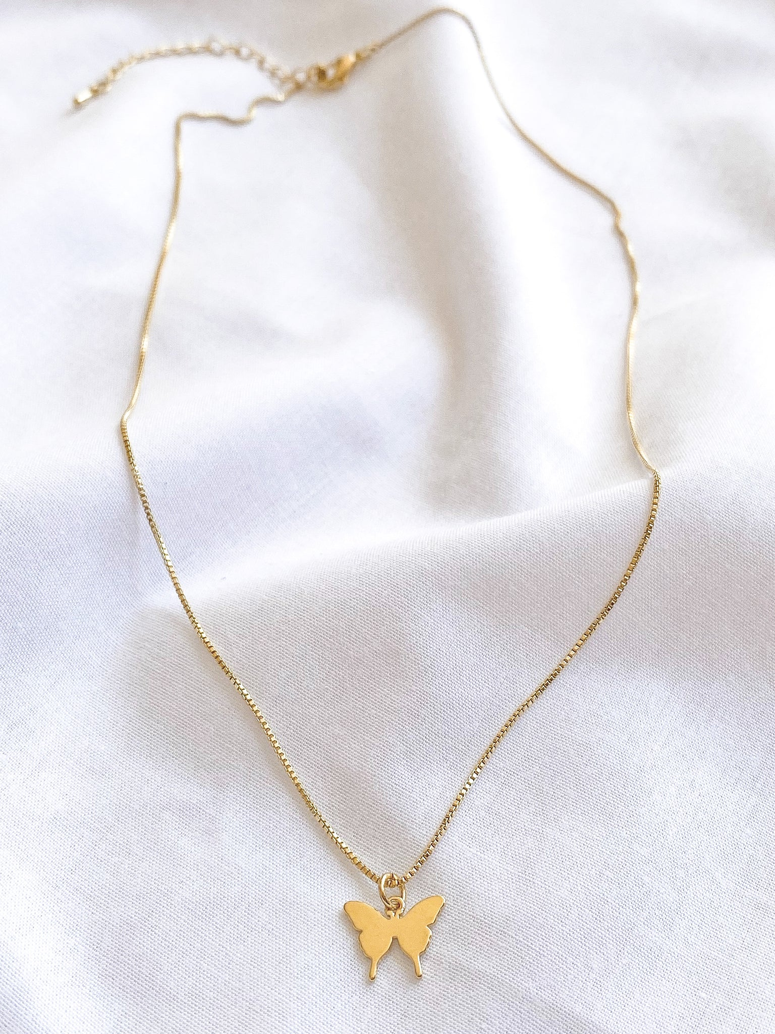 Gold Simple butterfly Cutout Necklace