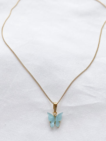 Baby Blue Butterfly Necklace