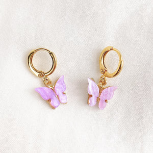 Lilac Purple Butterfly Earrings