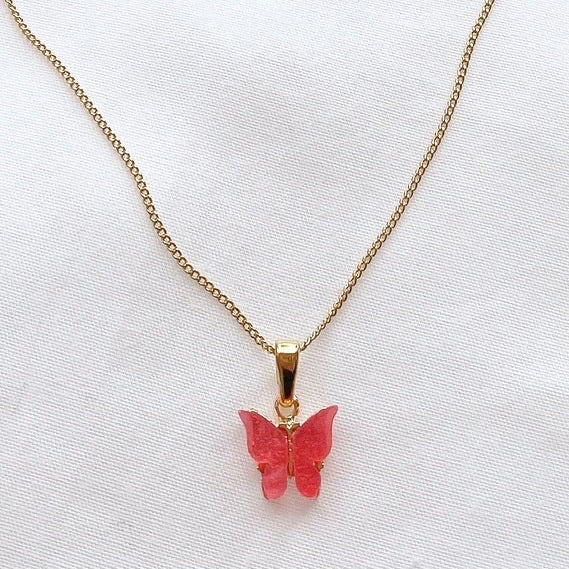 Fuchsia Coral Pink Butterfly Necklace