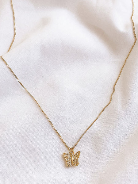Dainty Diamanté Butterfly Necklace