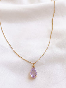 Lilac Purple Glass Gemstone Teardrop Necklace