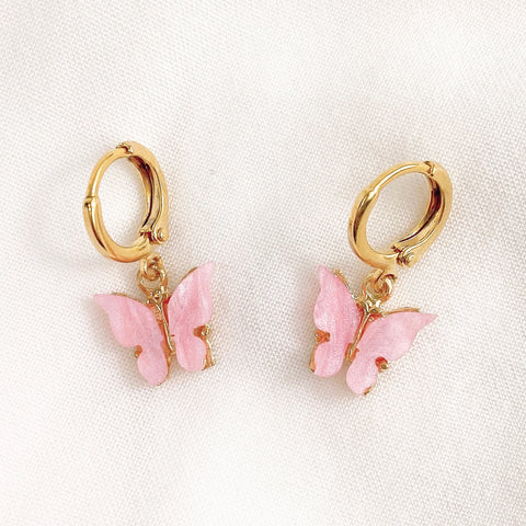 Baby Pink Butterfly Huggie Earrings