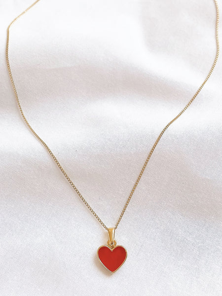 Red Enamel Love Heart Necklace