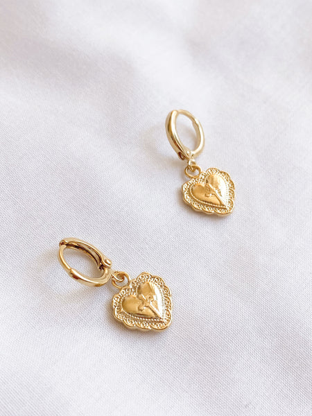 Gold Love Heart Cross Earrings