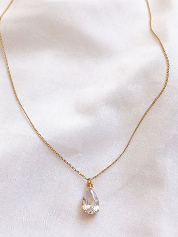 Clear Glass Gemstone Teardrop Necklace