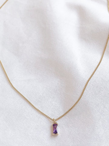 Dark Purple Rectangle Gemstone Necklace