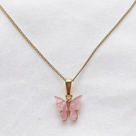 Baby Pink Butterfly Necklace