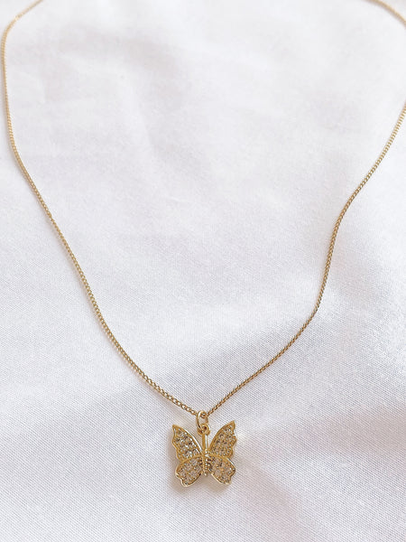 Diamanté Butterfly Gold Necklace