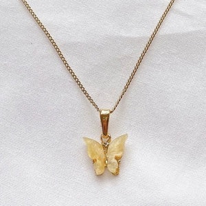 Yellow Butterfly Necklace