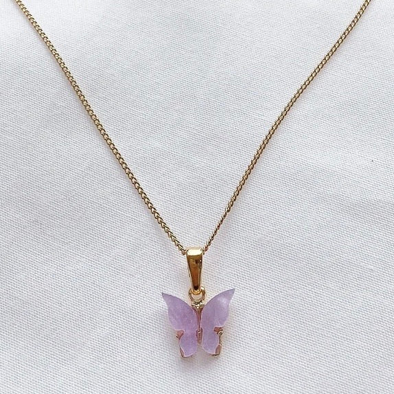 Lilac Purple Butterfly Necklace