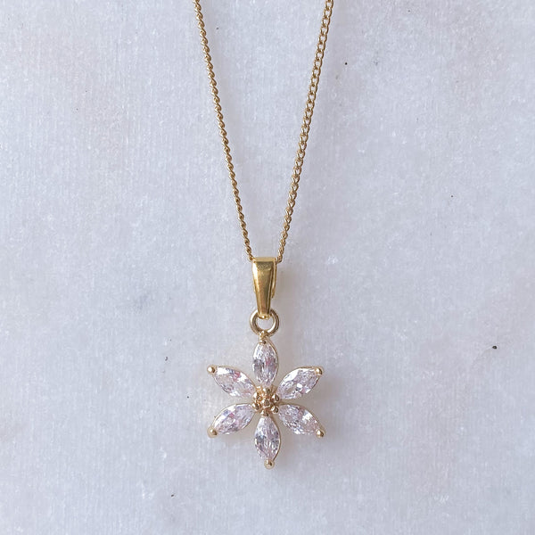 Gemstone Crystal Flower Necklace
