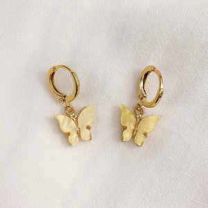Yellow Butterfly Earrings