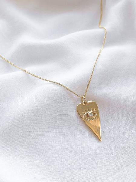 Gold Evil Eye Heart Necklace