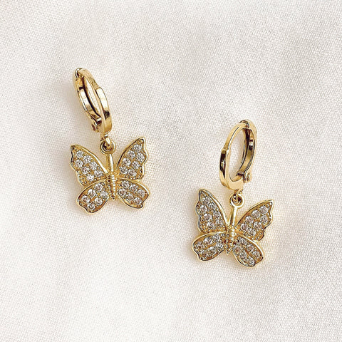 Diamanté Butterfly Earrings