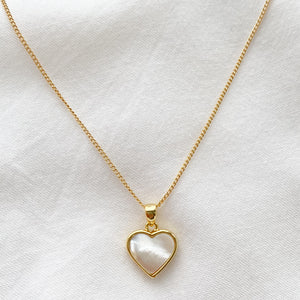 Mother of Pearl Irredescent Love Heart Necklace