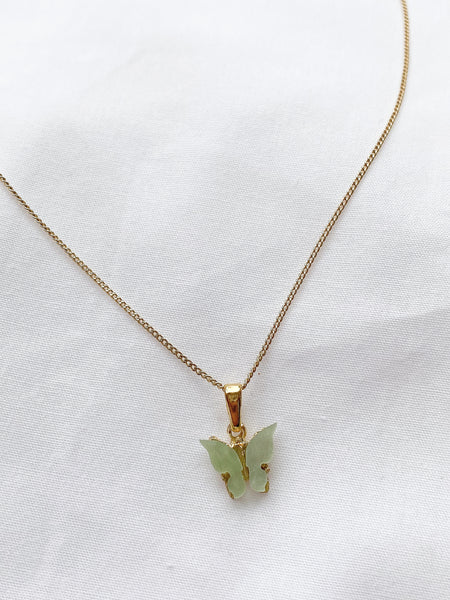 Sage Green Butterfly Necklace