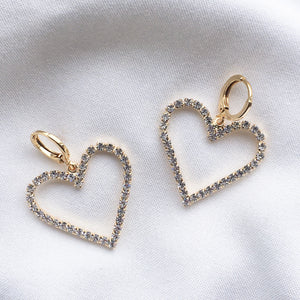 Diamanté Love Heart Earrings