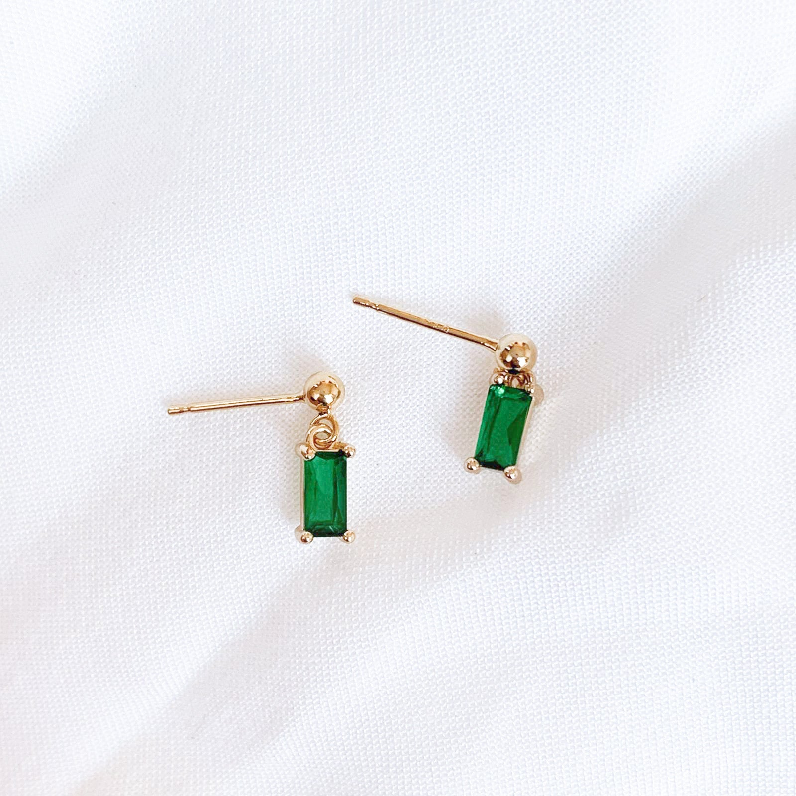 Green Rectangle Gemstone Earrings