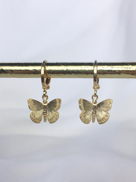 Plain Gold Butterfly Earrings