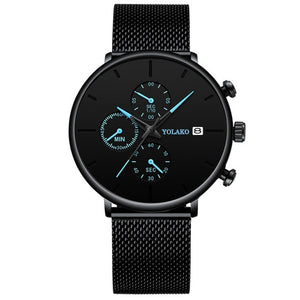 Blue Pointer Men Watch Quartz Casual Simple Alloy Mesh Matte Male Business Temperament Calendar Wrist Watch Relojes Para Hombre