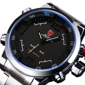 Gulper SHARK Sport Watch Brand Mens Black Luxury Full Steel Band Digital Calendar Wristwatches Quartz Relogio Masculino /SH103