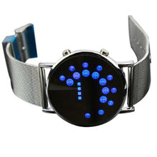 Load image into Gallery viewer, Men Women LED Round Watch Mirror Blue Circles Stainless Steel Illuminated creative design Watch 2019 femme gift reloj mujer Q