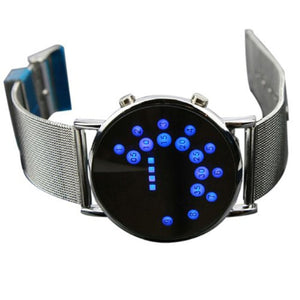 Men Women LED Round Watch Mirror Blue Circles Stainless Steel Illuminated creative design Watch 2019 femme gift reloj mujer Q