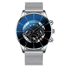 Load image into Gallery viewer, GENEVA Men Watches TOP Brand Luxury Fashion Business Calendar Stainless Steel Quartz Wrist Watch Male Clock relogio masculino