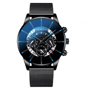 GENEVA Men Watches TOP Brand Luxury Fashion Business Calendar Stainless Steel Quartz Wrist Watch Male Clock relogio masculino