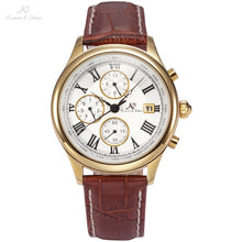 Load image into Gallery viewer, IMPERIAL KS Retro Skeleton 6 Hands Golden Case Luxury Brand Day Month Display Brown Leather Strap Men's Mechanical Watch / KS146