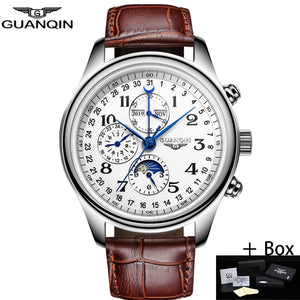 GUANQIN Automatic Mechanical Men Watches Top Brand Luxury Waterproof date Calendar Moon Leather Wristwatch Relogio Masculino A