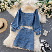 Load image into Gallery viewer, Fashion V-neck Denim Top + High Waist Skirt Set