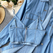 Load image into Gallery viewer, Two-piece Outfits Vintage Denim Shirt+Tank Top