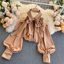 Load image into Gallery viewer, Elegant Bow Puff Sleeve Shirt