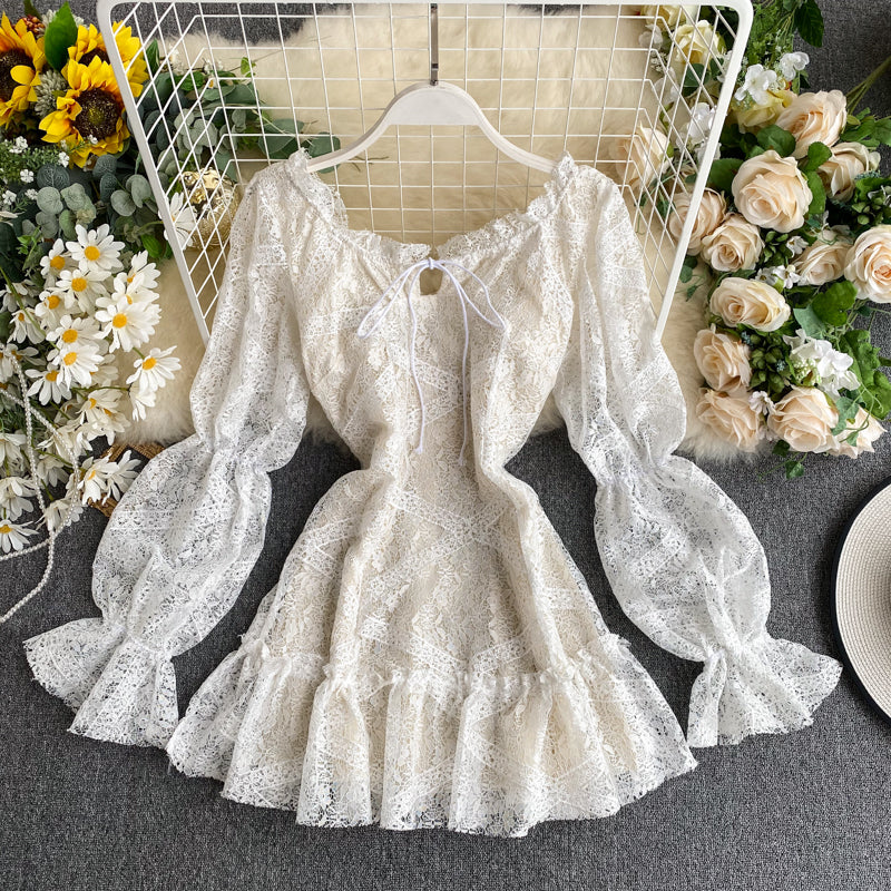 Sweet Puff Sleeve Lace Dress