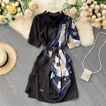 Load image into Gallery viewer, Temperament Print Stitching Shirt Dress