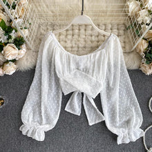 Load image into Gallery viewer, Sexy Off Shoulde Rpuff Sleeve Chiffon Shirt