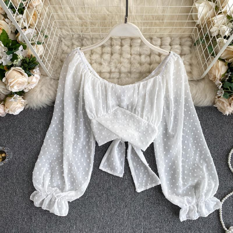 Sexy Off Shoulde Rpuff Sleeve Chiffon Shirt
