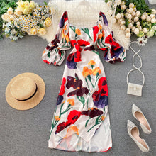 Load image into Gallery viewer, Retro Square Neck Puff Sleeve Midi Dress