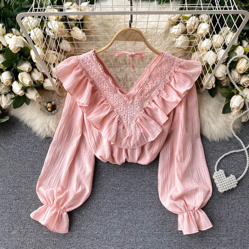 Sweet Ruffled Puff Sleeve Shirt