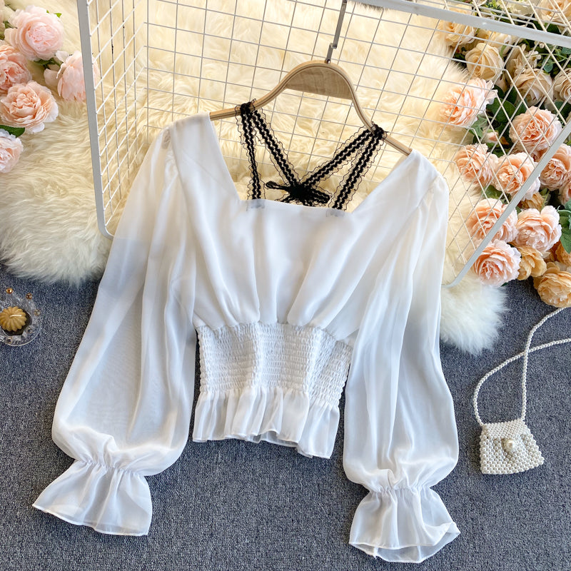 Fashion Lace Stitching Chiffon Shirt