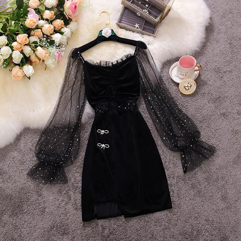 Fashion Stitching Sequined Velvet Dress
