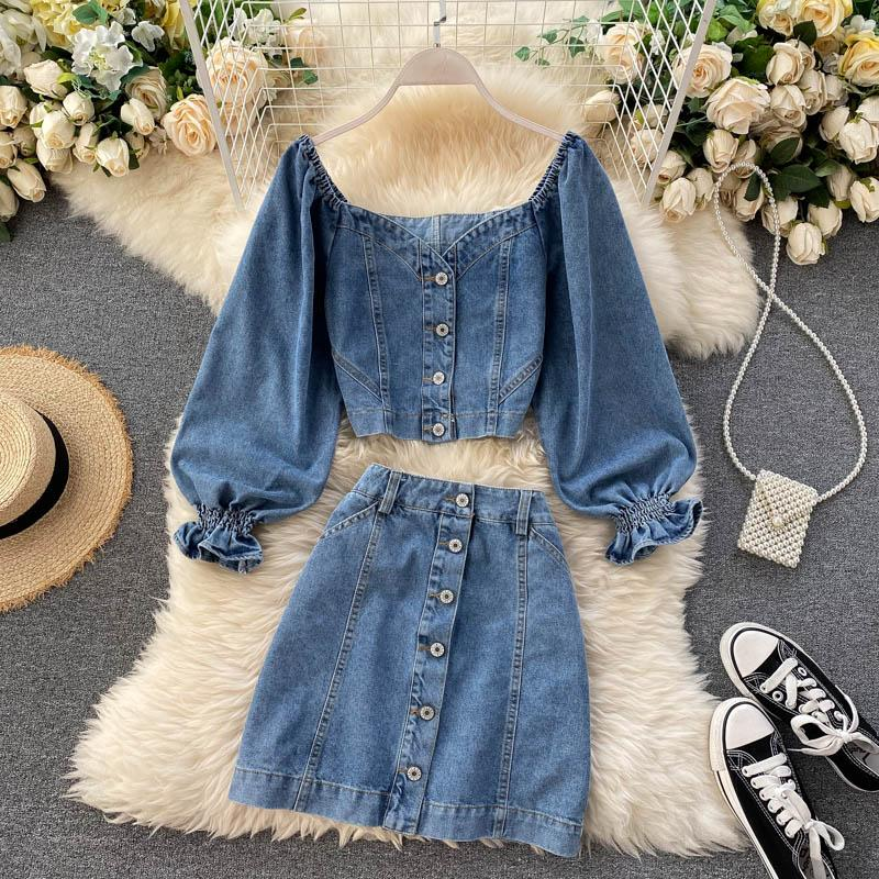 Fashion V-neck Denim Top + High Waist Skirt Set