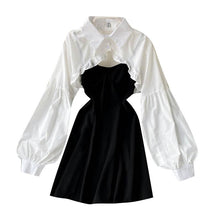 Load image into Gallery viewer, Fashion Ruffled Shirt + Suspender Skirt Set