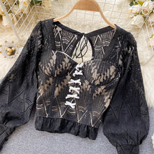 Load image into Gallery viewer, Fashion Hollow Lace Shirt