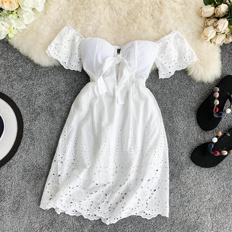 Sweet Hollow Lace V-neck Dress
